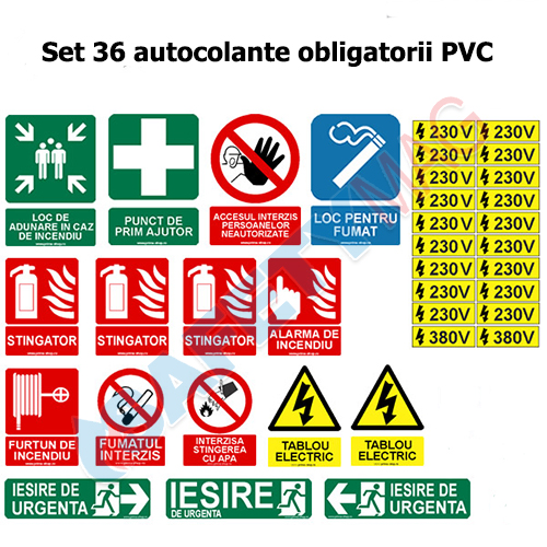 SEt 36 autocolante obligatorii PVC